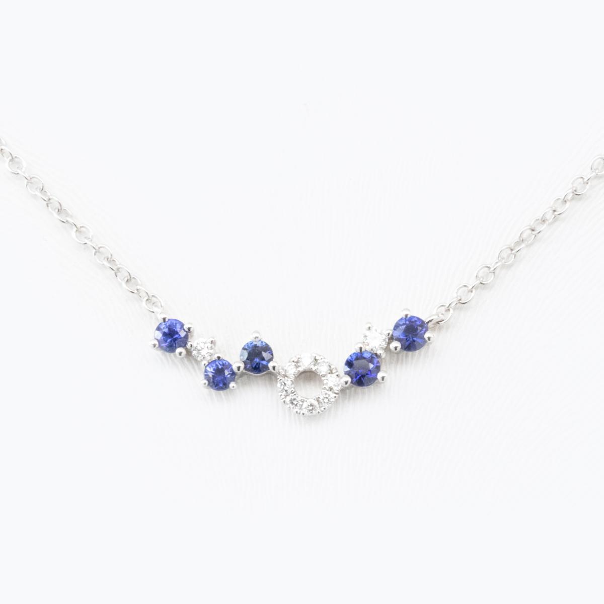 Diamond and Blue Sapphire Curve Necklace