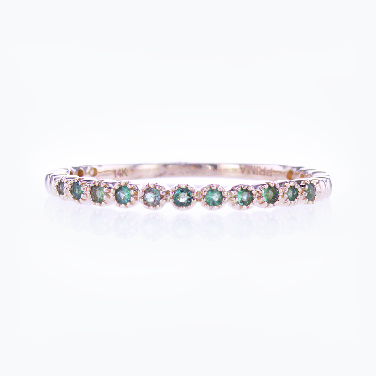 Floating Emerald Band Ring