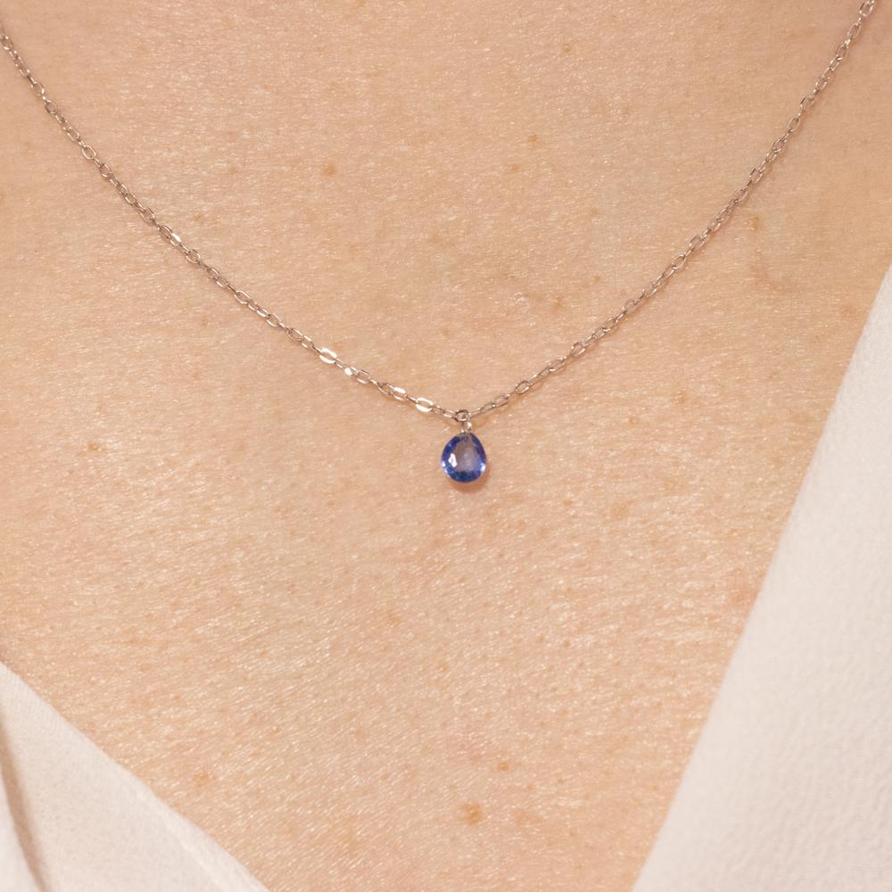 Blue Sapphire Teardrop Necklace
