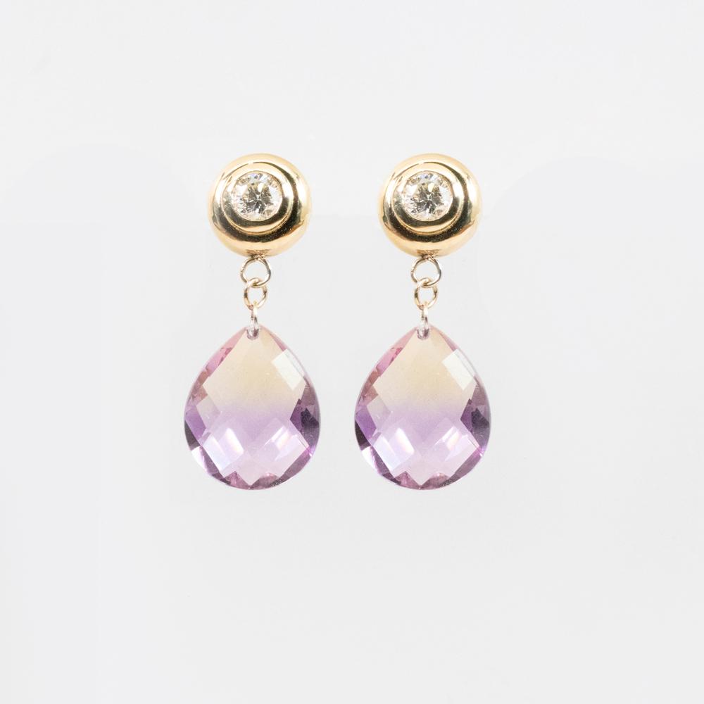 Gemstone and Diamond Dangle Earrings