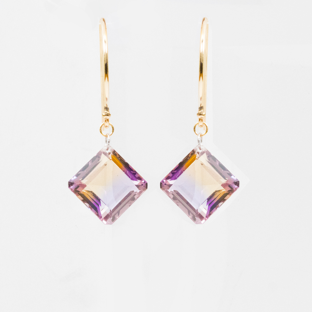Square Ametrine Dangle Earrings