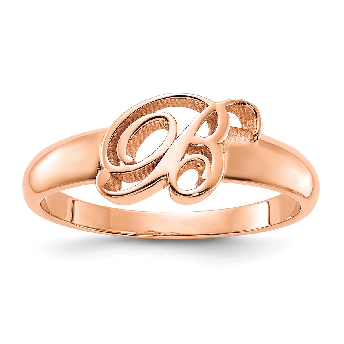 Cursive Initial Monogram Signet Ring