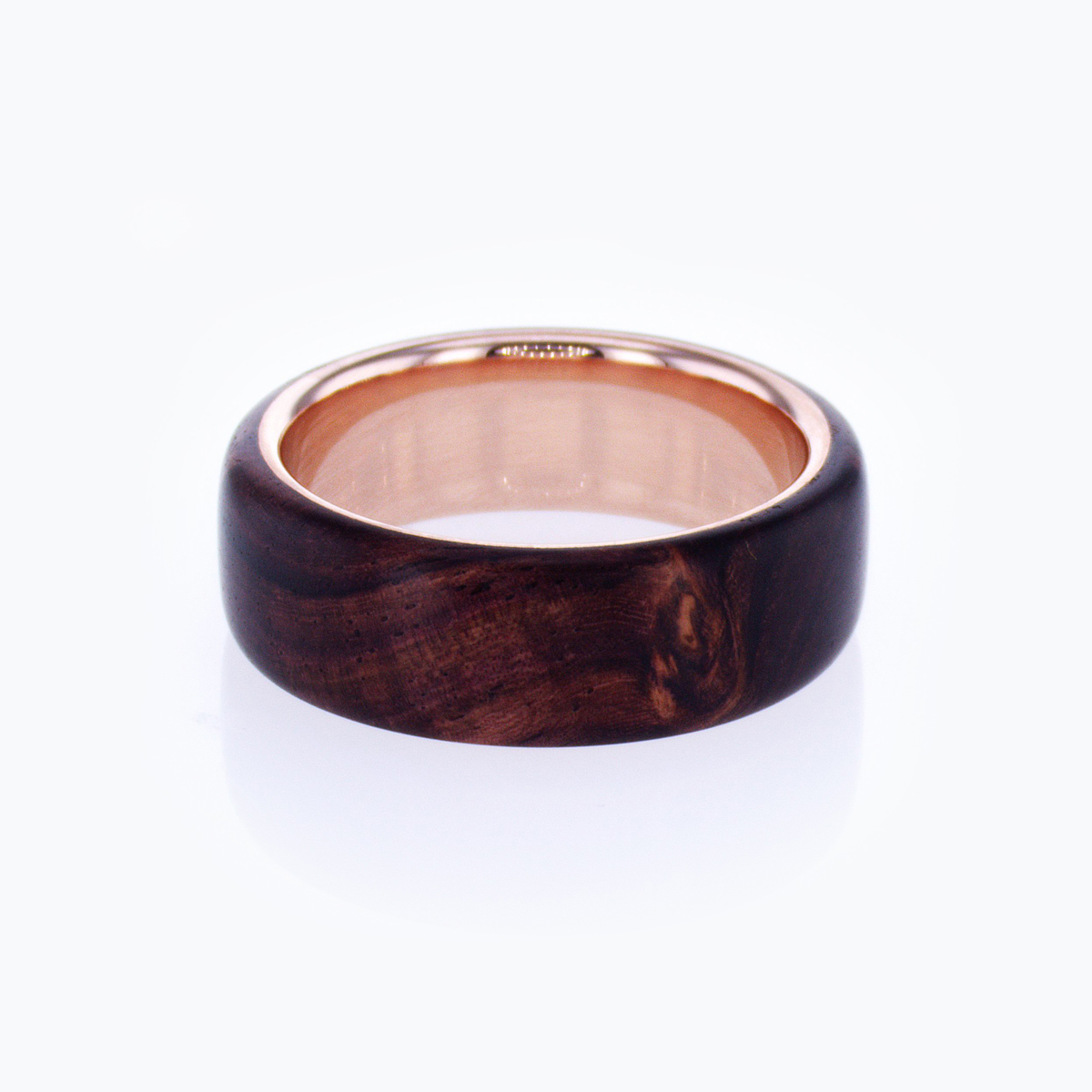 Burlwood Men's Wedding Ring with 14k Rose Gold Base