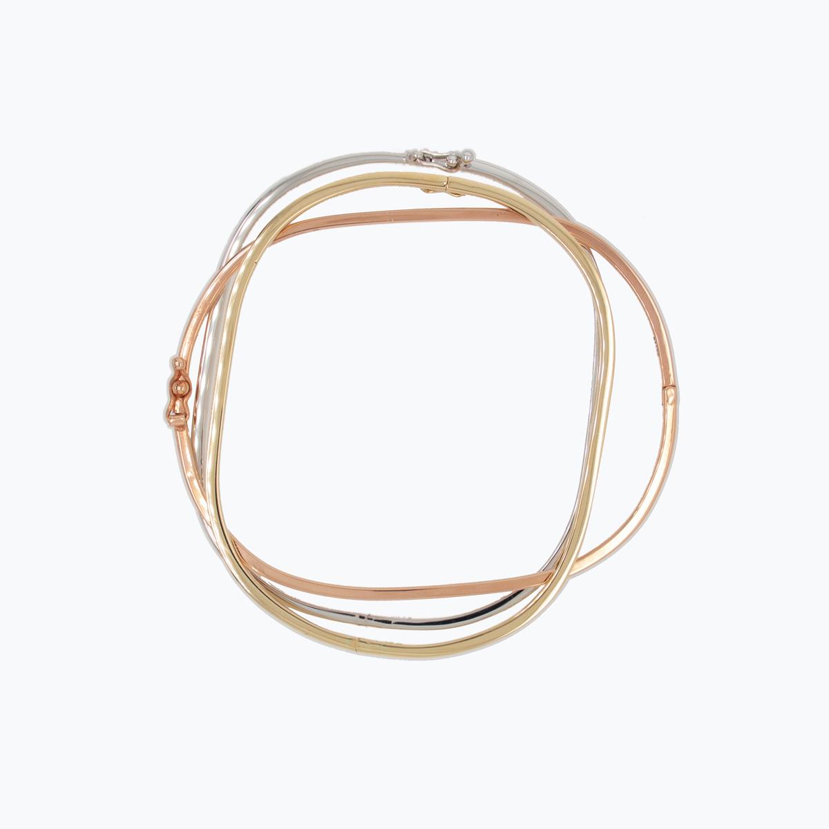 Rose, White, and Yellow Bangle Bracelet set