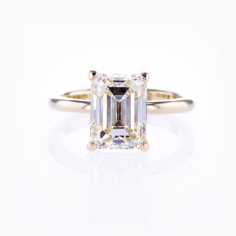 Dino Lonzano Solitaire Engagement Ring with Emerald Cut Diamond