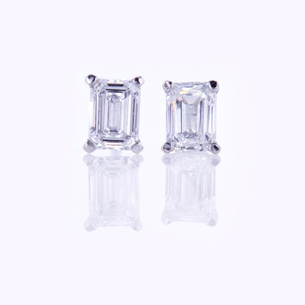 Emerald-Cut Diamond Stud Earrings, 0.56cttw