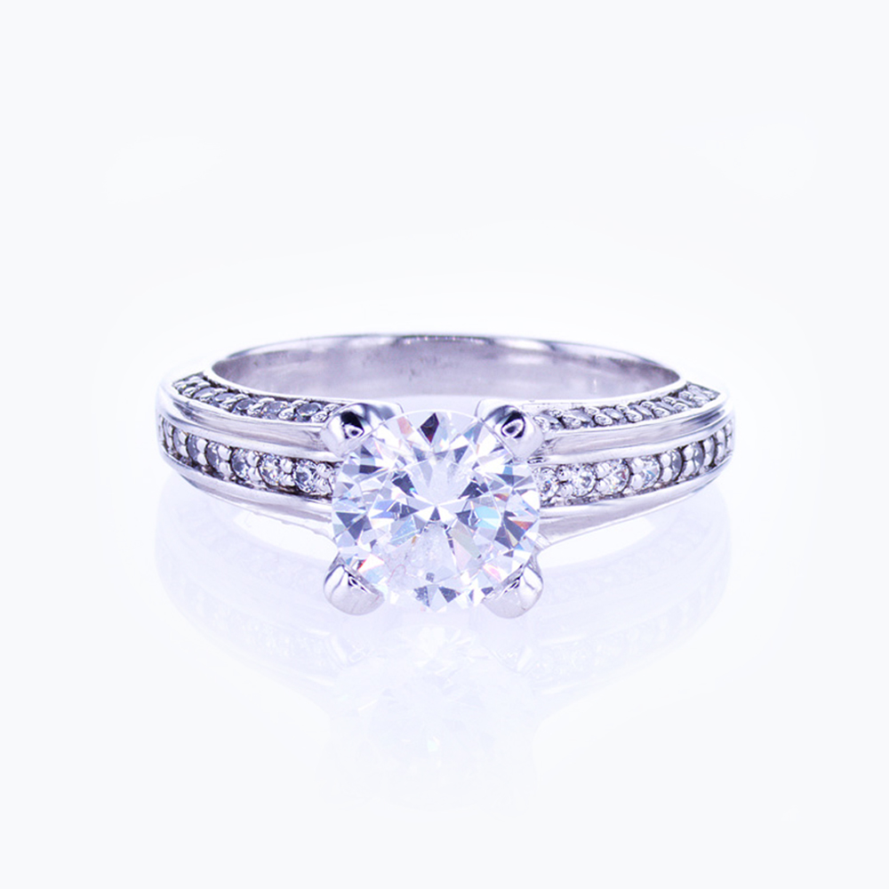 Bead-set Diamond accented Engagement Ring