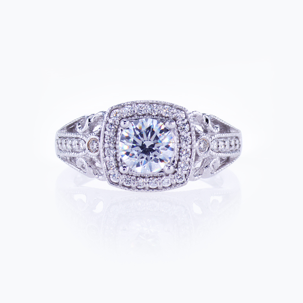 Diamond Accented Sculptural Engagement Ring