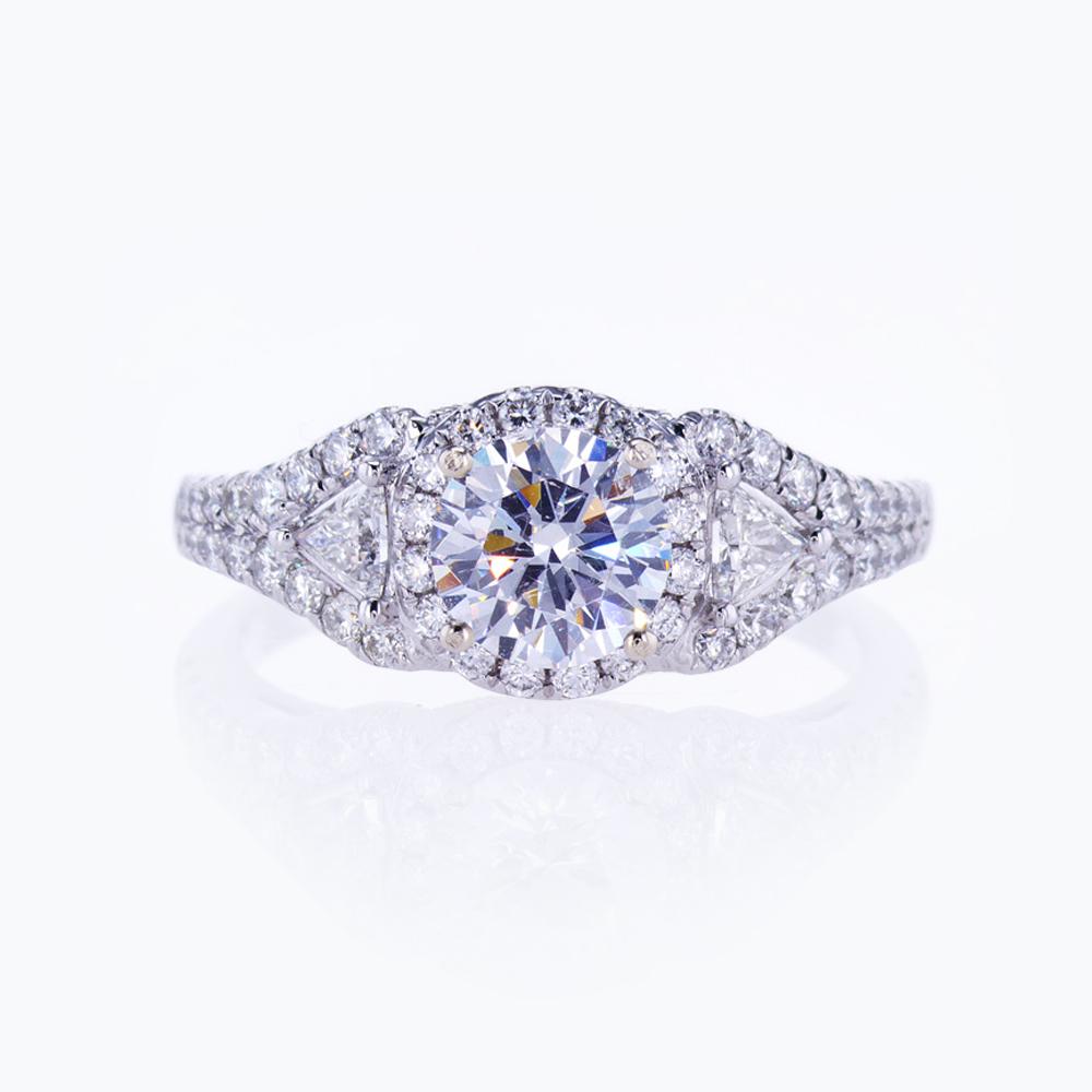 Dino Lonzano Trilliant and Pavé Diamond Engagement Ring