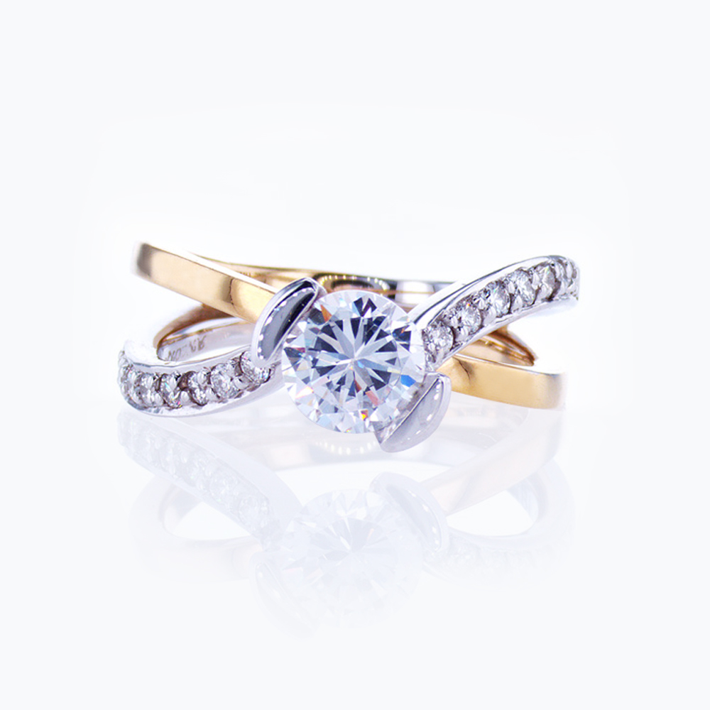Two-tone Accented Split-shank Engagement Ring