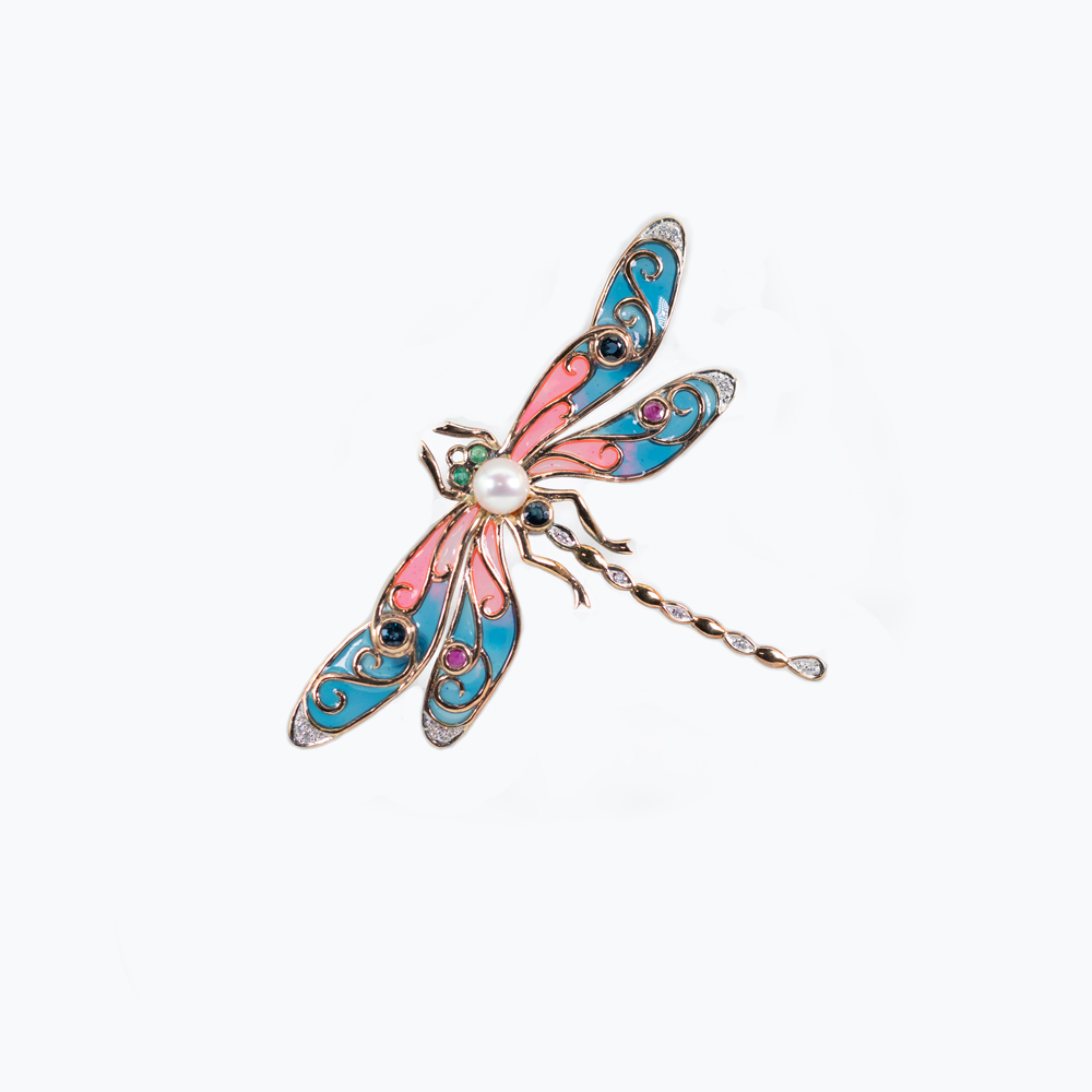 Blue Diamond-accented Enamel Dragonfly Brooch