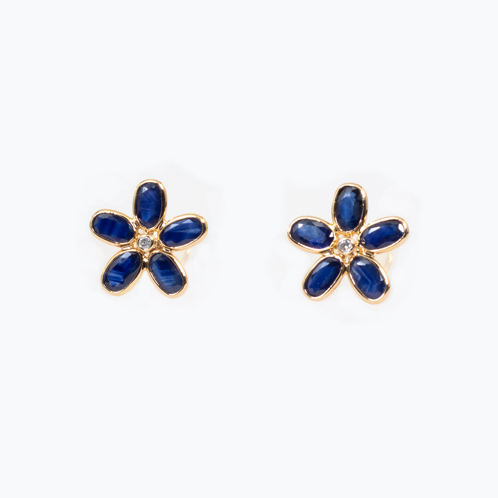 Five Petal Floral Earrings with Blue Sapphires and Diamond