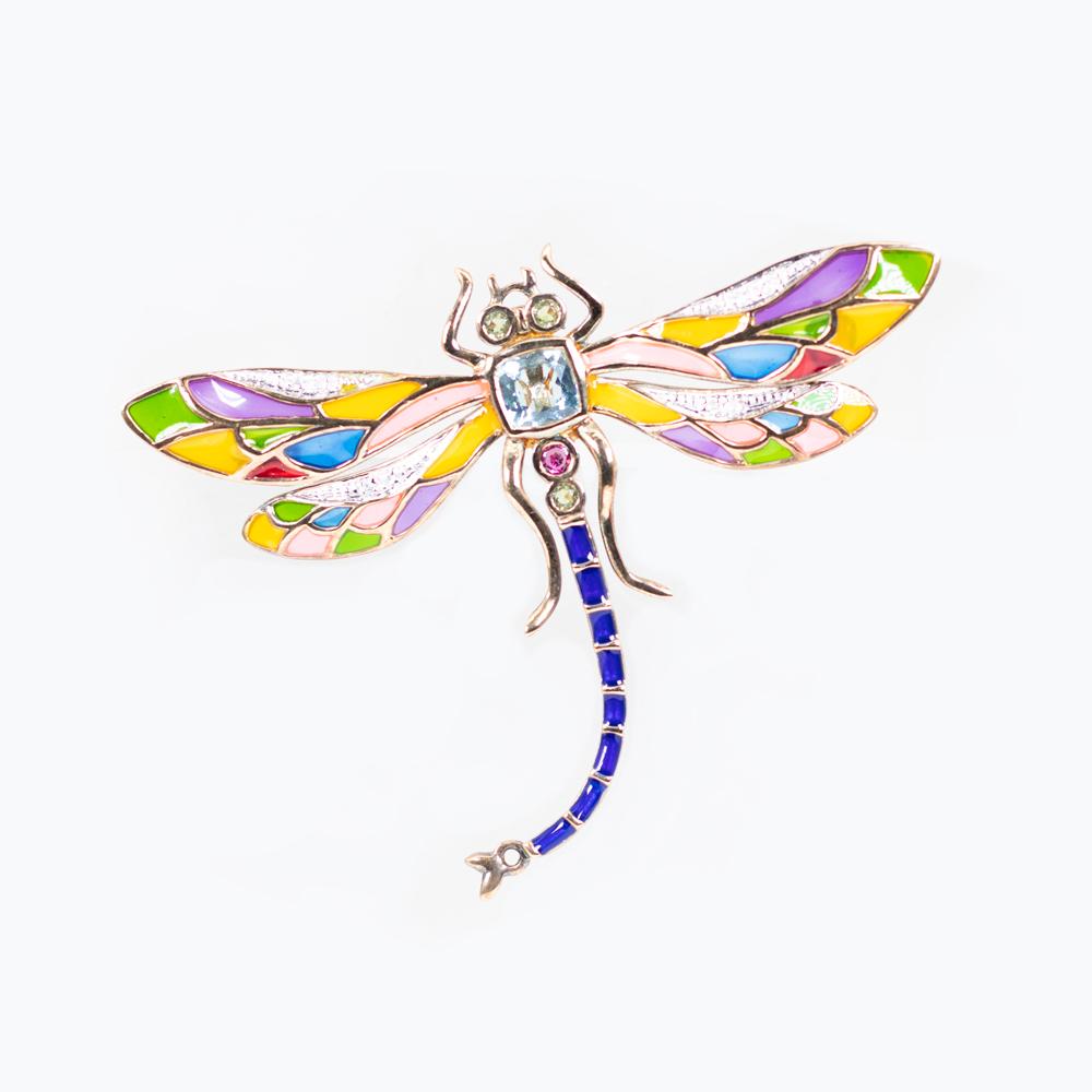 Gemstone Accented Enamel Dragonfly Brooch
