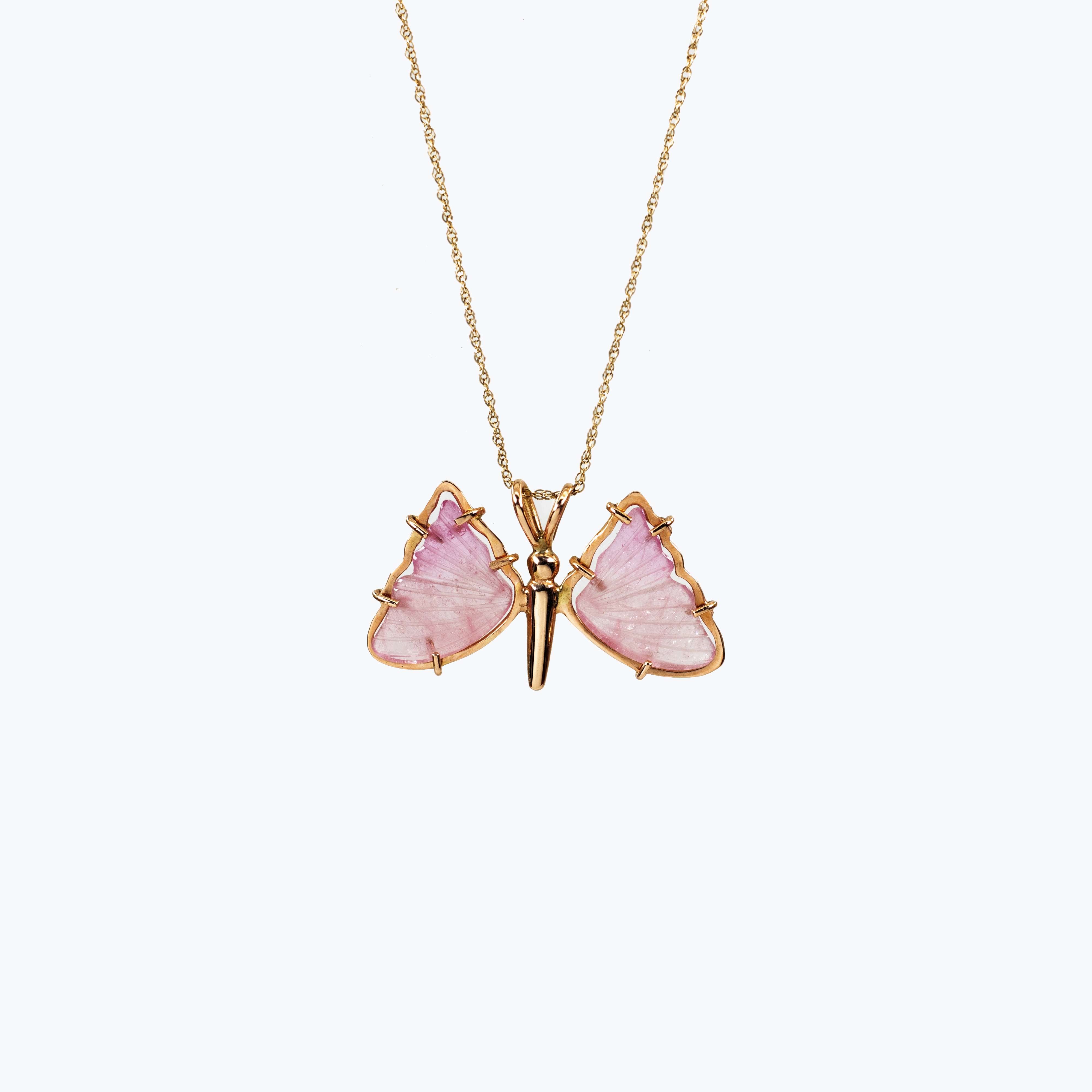 Hand-carved Pink Tourmaline Butterfly Pendant Necklace