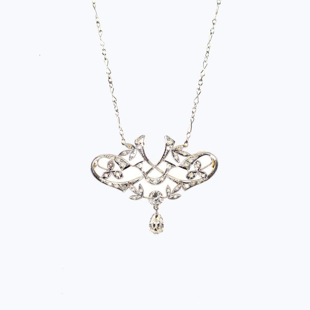 Vintage Diamond Lavaliere Necklace, 1920s