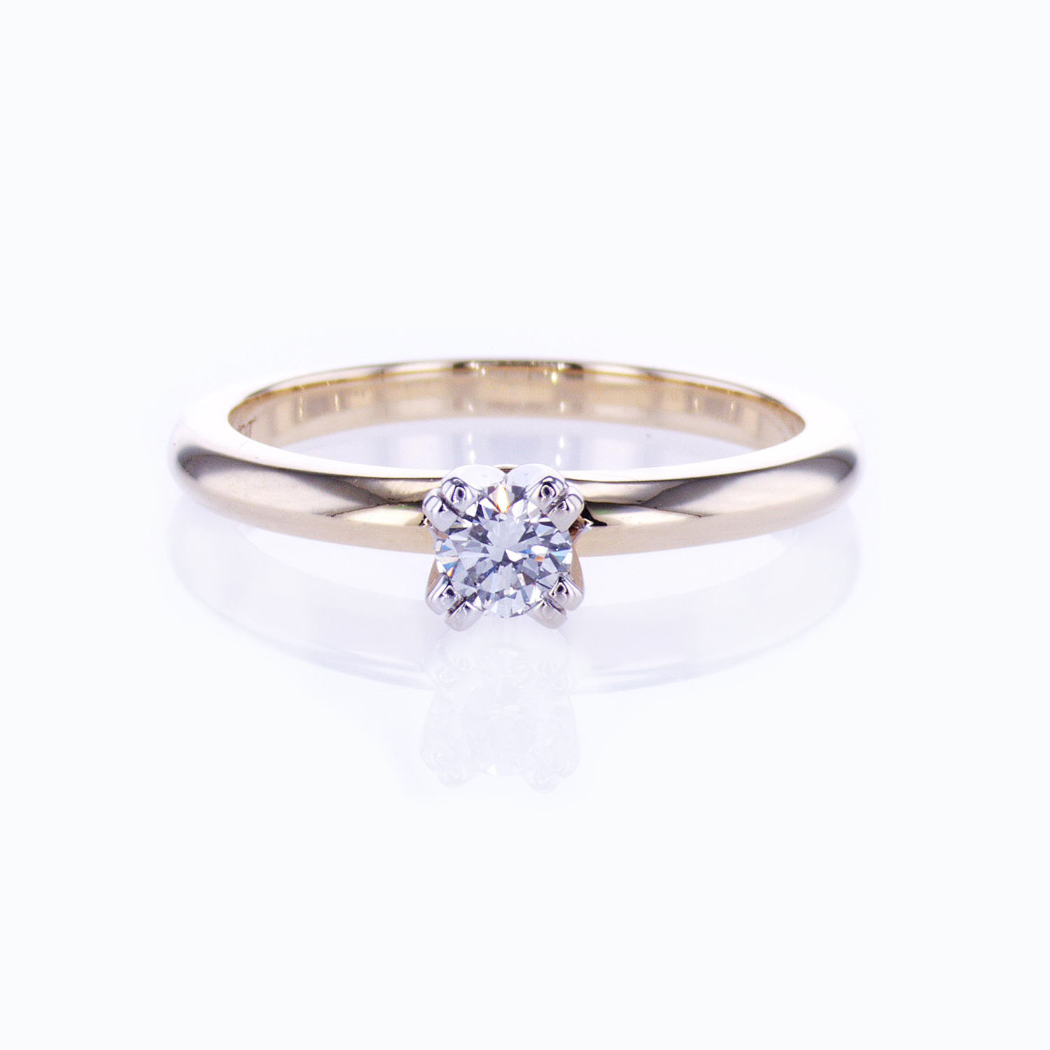 Double Prong Preset Diamond Solitaire Engagement Ring