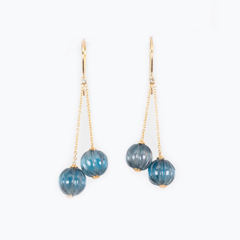 Hand-carved London Blue Topaz Dangle Earrings