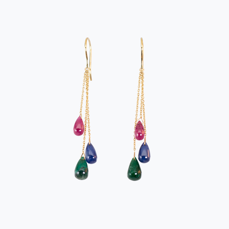 Mix Gemstone Dangle Earrings