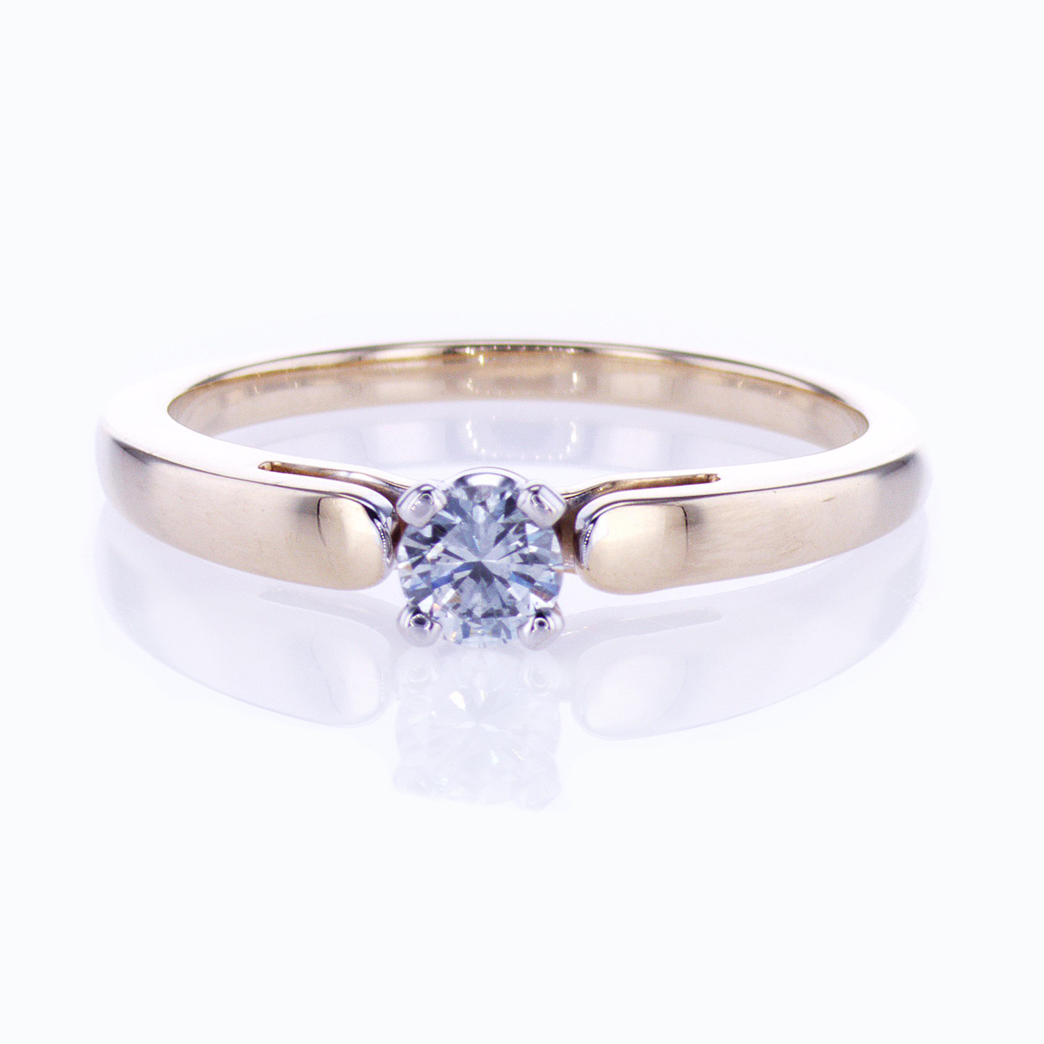 Petite Solitaire Engagement Ring with Diamond Preset
