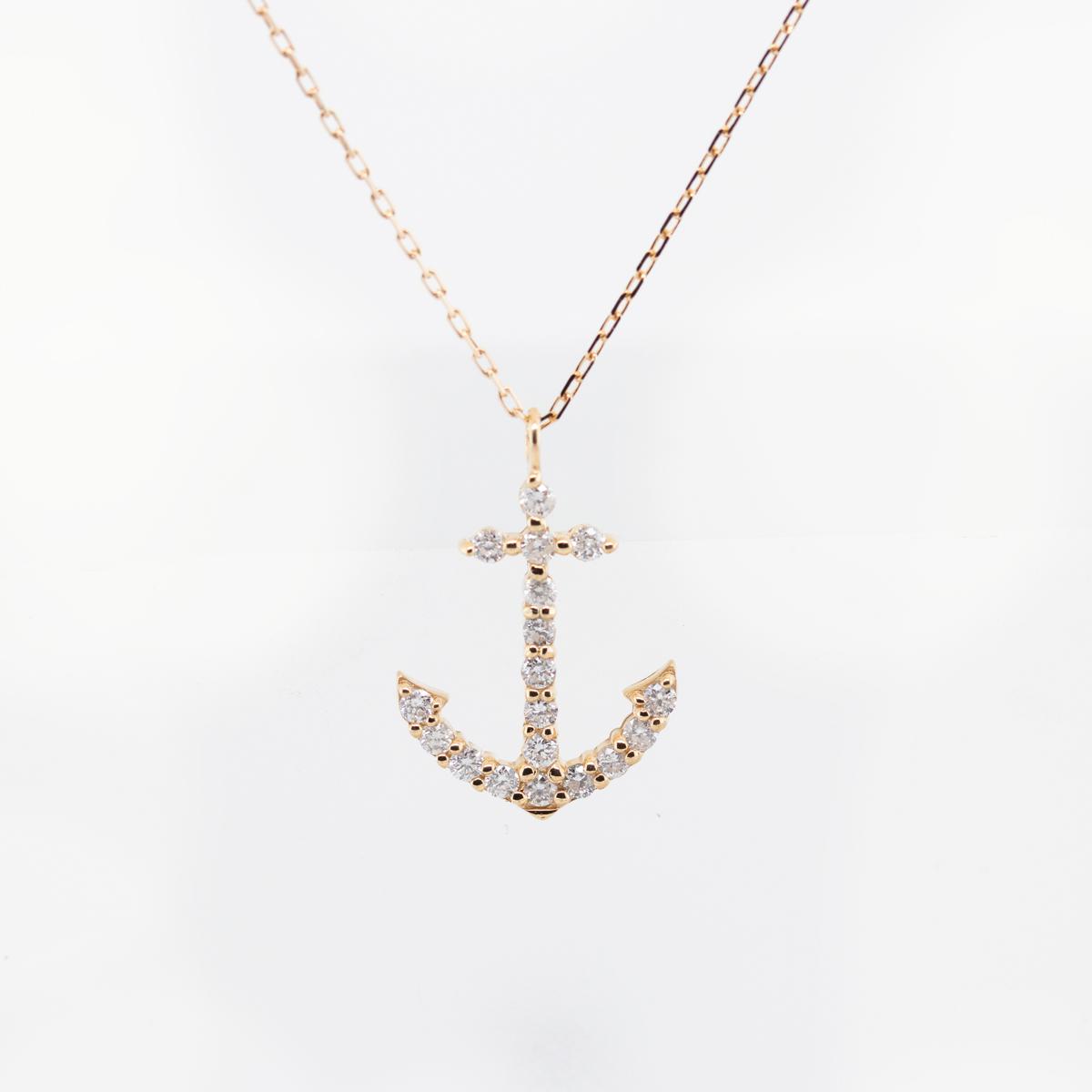 Petite Diamond Anchor Necklace