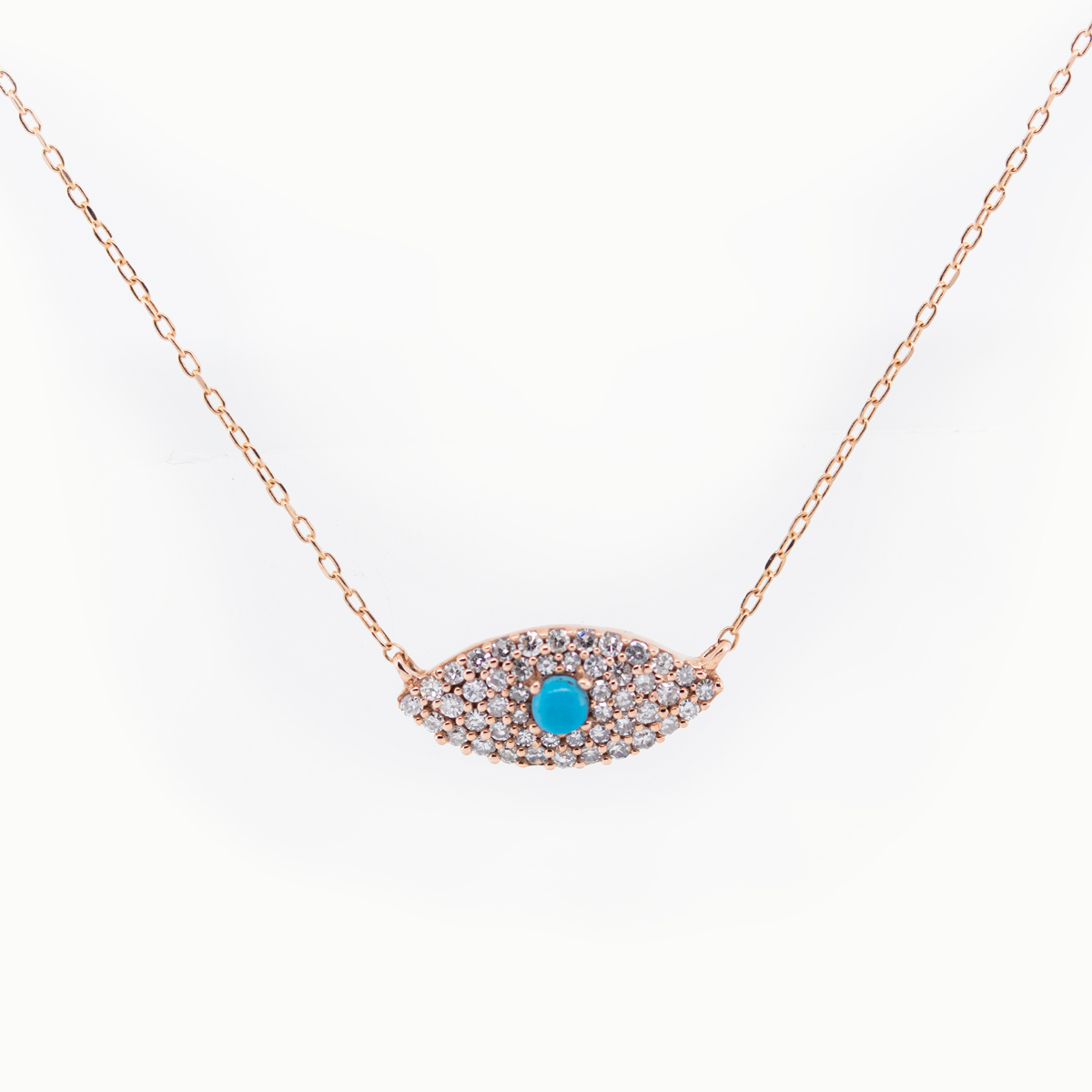 Petite Diamond and Turquoise Evil Eye Necklace