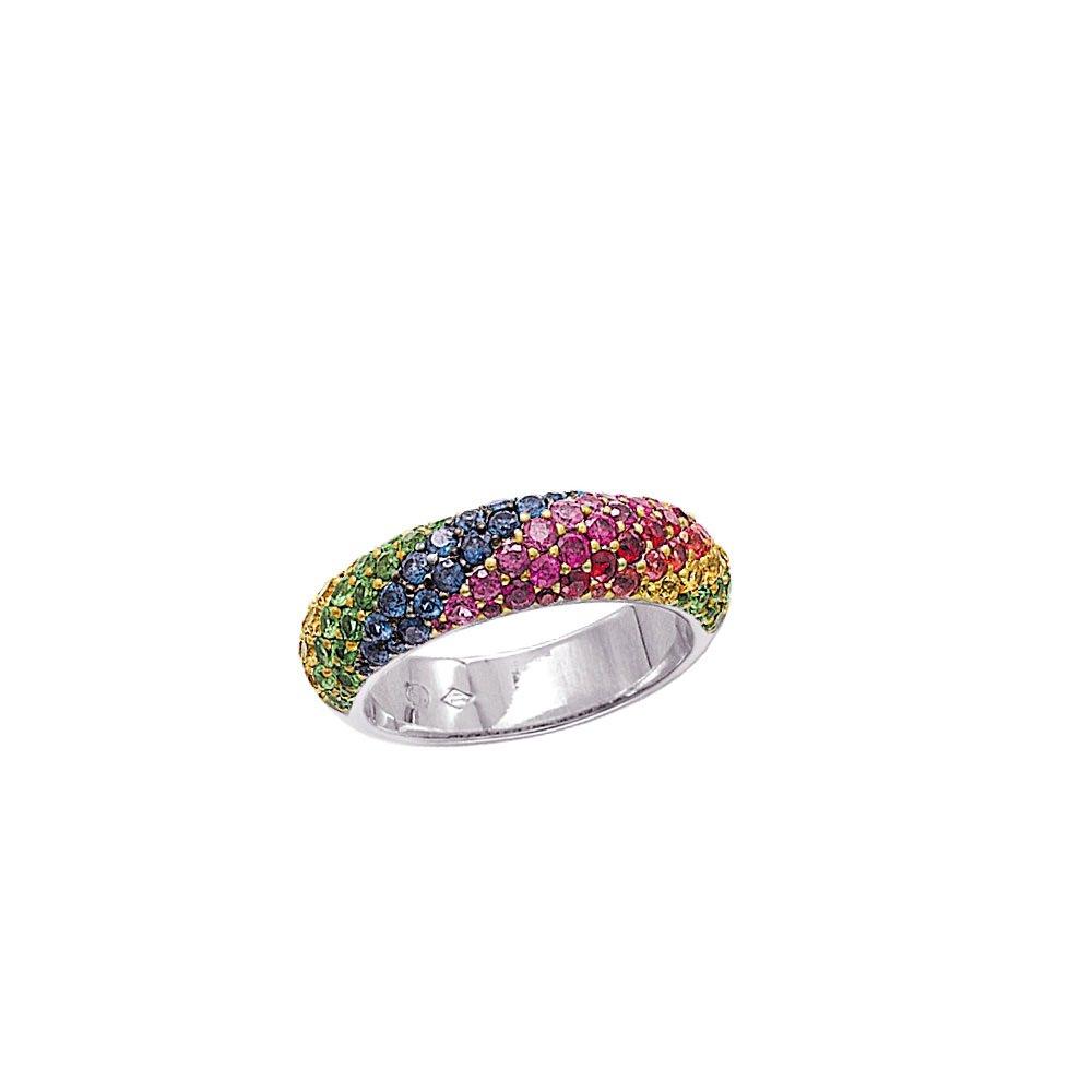 Rainbow Sapphire Pave Ring