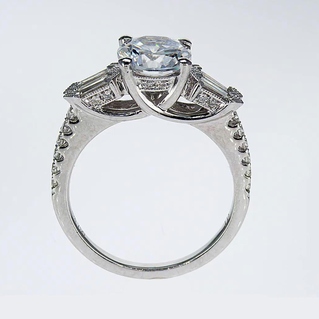 Baguette Diamond Engagement Ring, Vintage inspired  (semi mount)