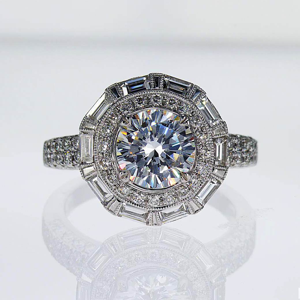 Vintage inspired Baguette Halo Diamond Engagement Ring, Platinum (semi mount)