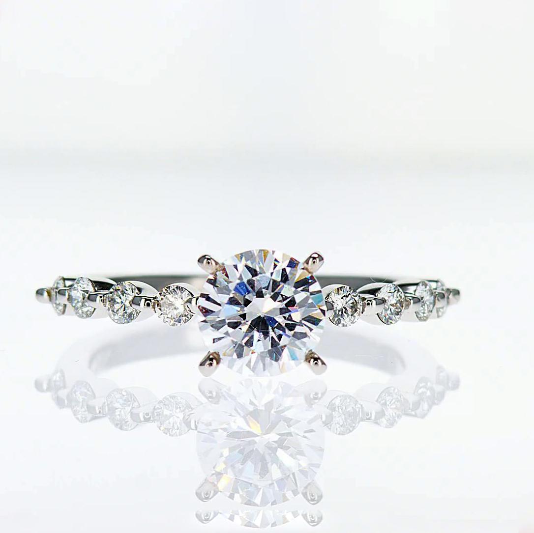 18k White Gold Beaded Design Diamond Engagement Ring (semi mount)