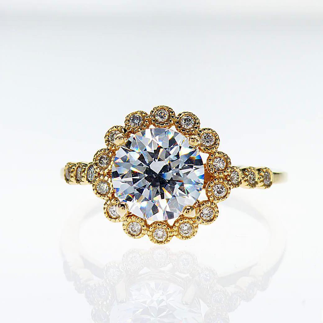 18k Yellow Gold Halo Diamond Engagement Ring(semi mount)