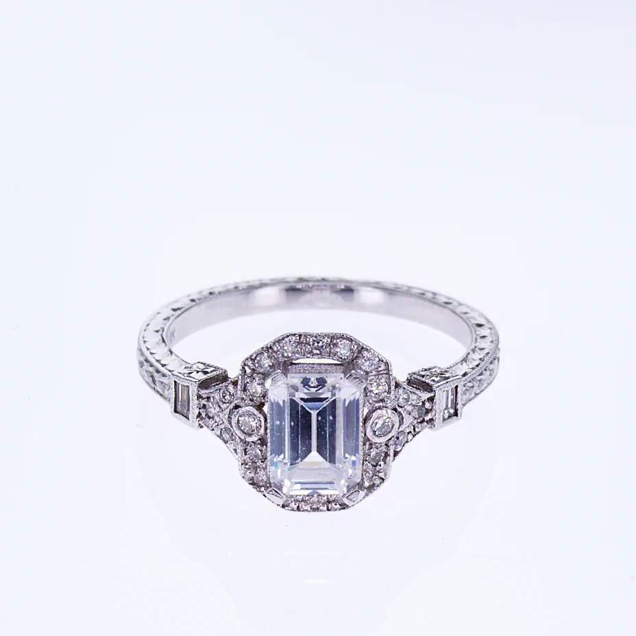 Art Deco Emerald Cut Diamond Engagement Ring (semi mount)