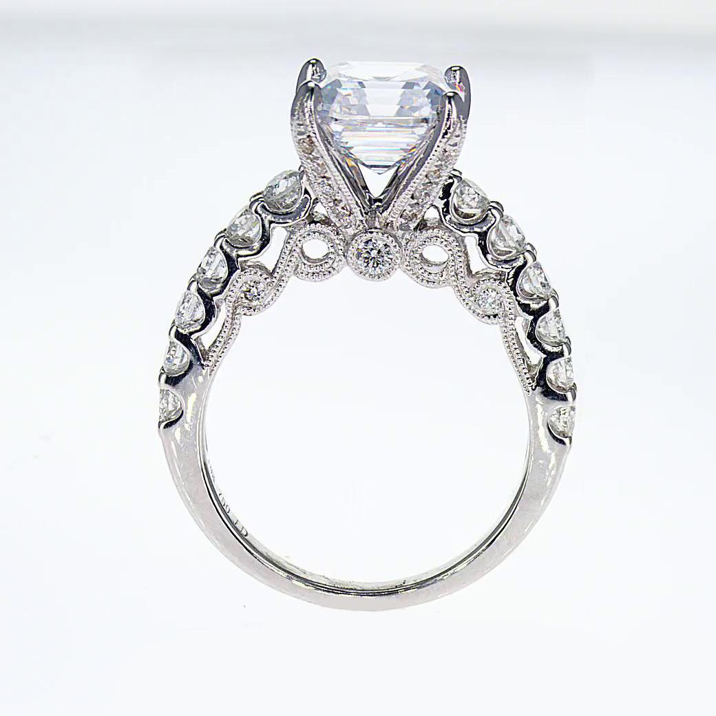 Sculptural inspired Asscher Cut Diamond Engagement Ring  (semi mount)