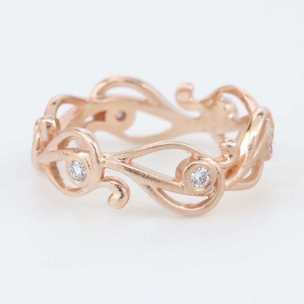 Whimsical 14K Rose Gold Free-Form Diamond Ring