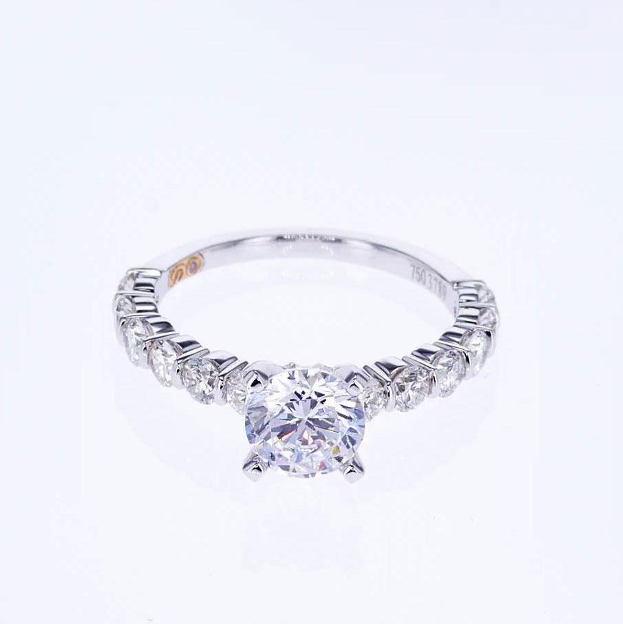 Modern Designer Diamond Engagement Ring, 18k White Gold  (semi mount)