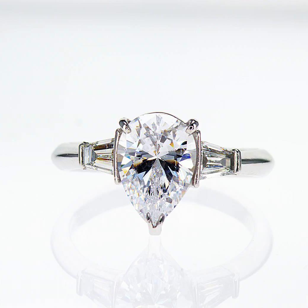 Pear Shape Diamond Engagement Ring, 18k White Gold (semi mount)