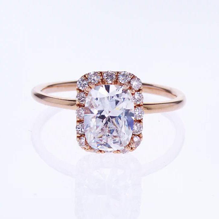 18k Rose Gold Radiant Cut Diamond Engagement Ring (semi mount)