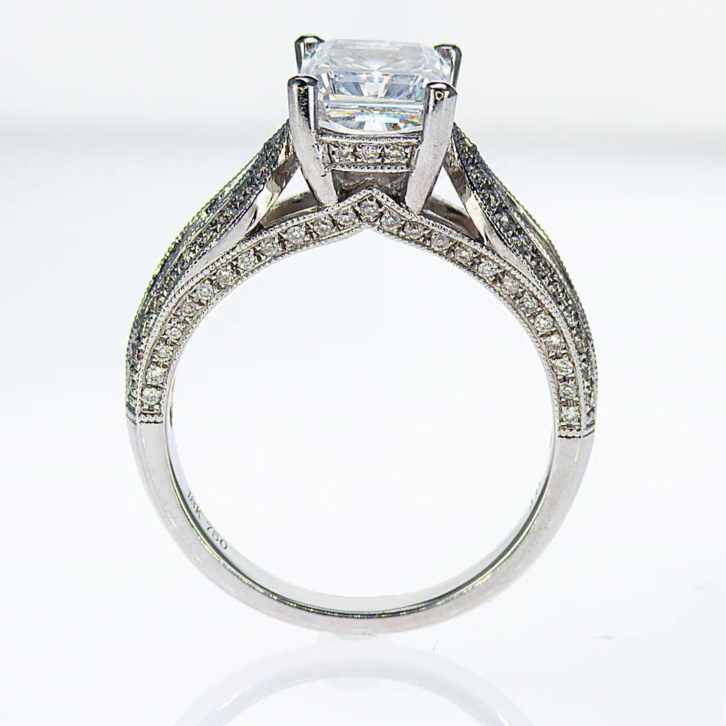 Sculptural inspired Diamond Engagement Ring (semi mount)
