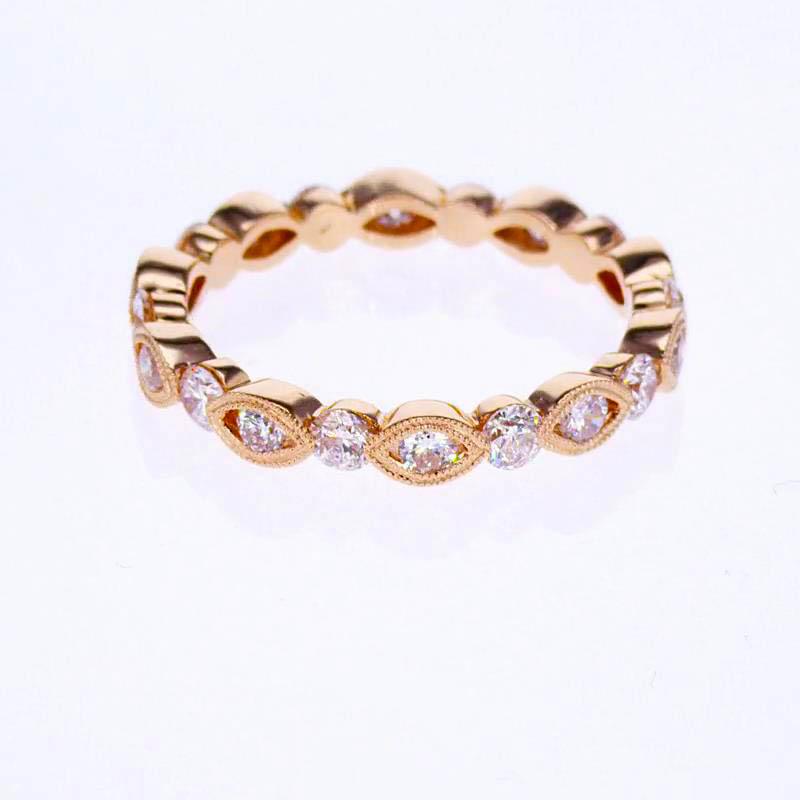 Sculptural inspired Diamond Wedding Band, 18k Rose Gold