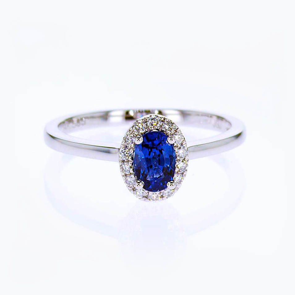 Diamond accented Blue Sapphire Engagement Ring, 14k White Gold