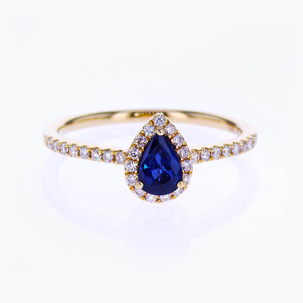 Pear shape Blue Sapphire Halo Engagement Ring with Diamonds, 14k Rose Gold