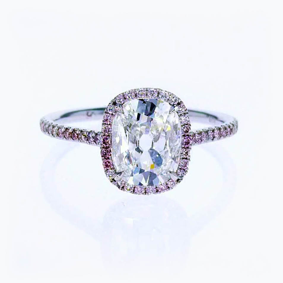 Vintage Cushion Cut Diamond Halo Engagement Ring, 18k White Gold
