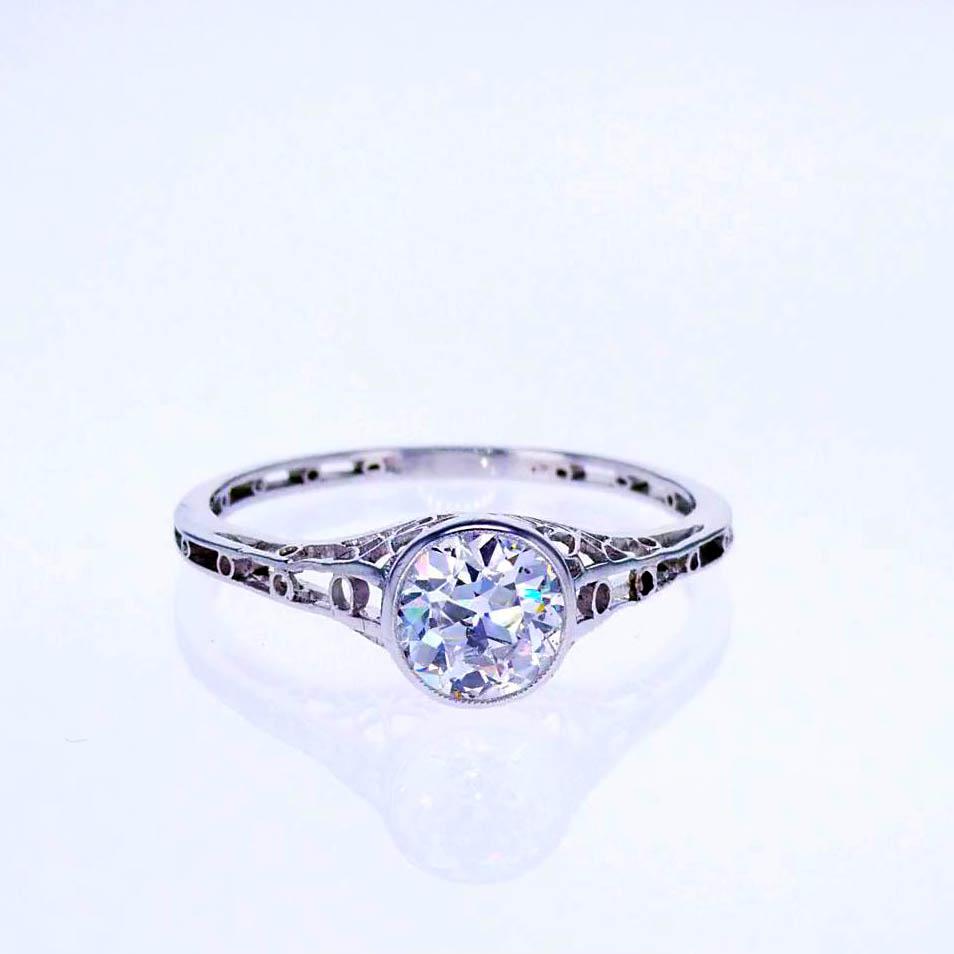 Edwardian Platinum Vintage Diamond Engagement Ring , 1910