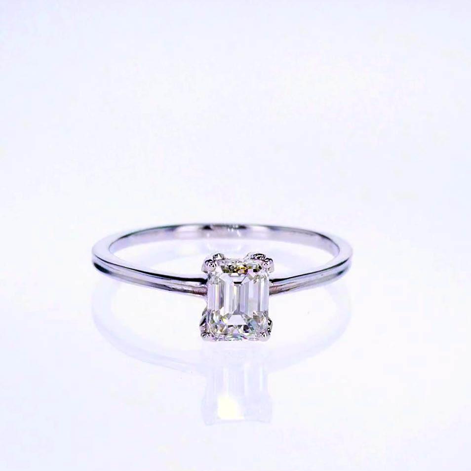 Vintage Emerald Cut Solitaire Diamond Engagement Ring, 14k White Gold