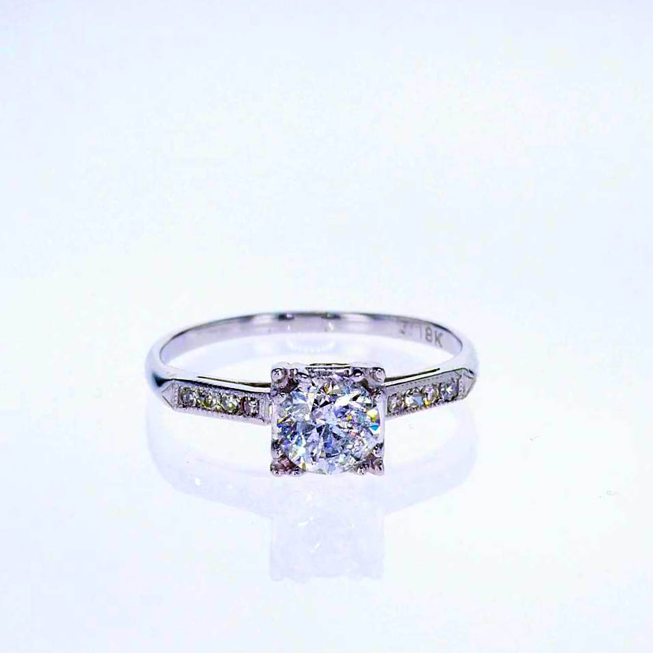 Vintage Diamond Accented Cathedral Engagement Ring, 18k White Gold