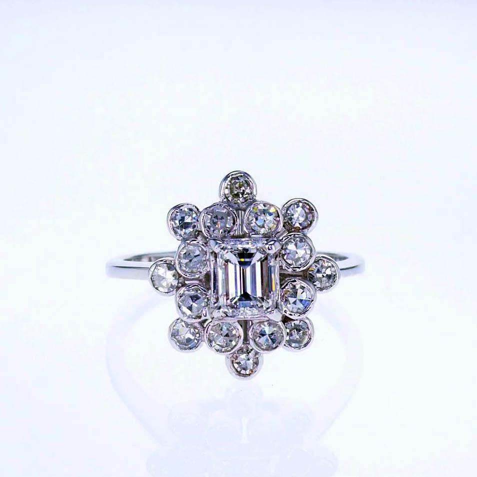 Floral Inspired Vintage Halo Diamond Ring, Retro Design