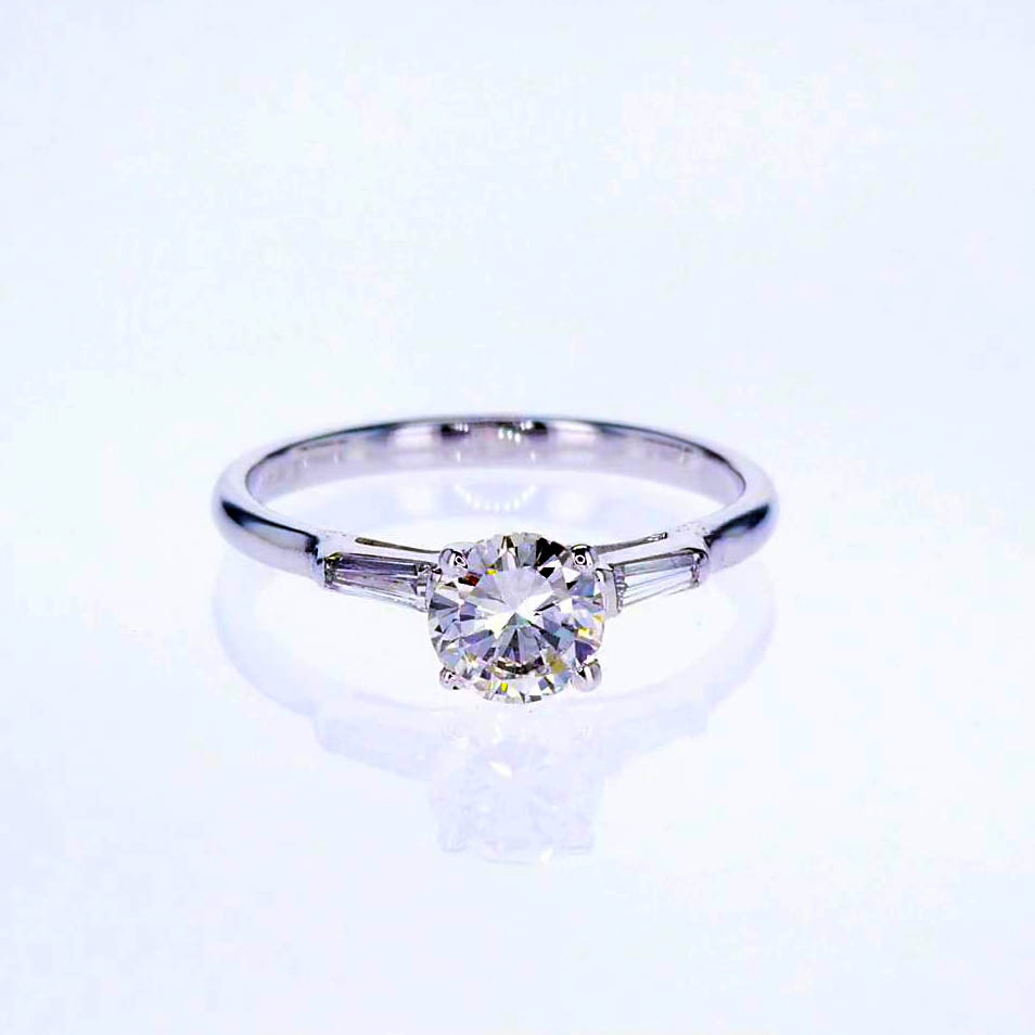 Vintage Baguette Diamond accented Engagement Ring (1950), 14k White Gold