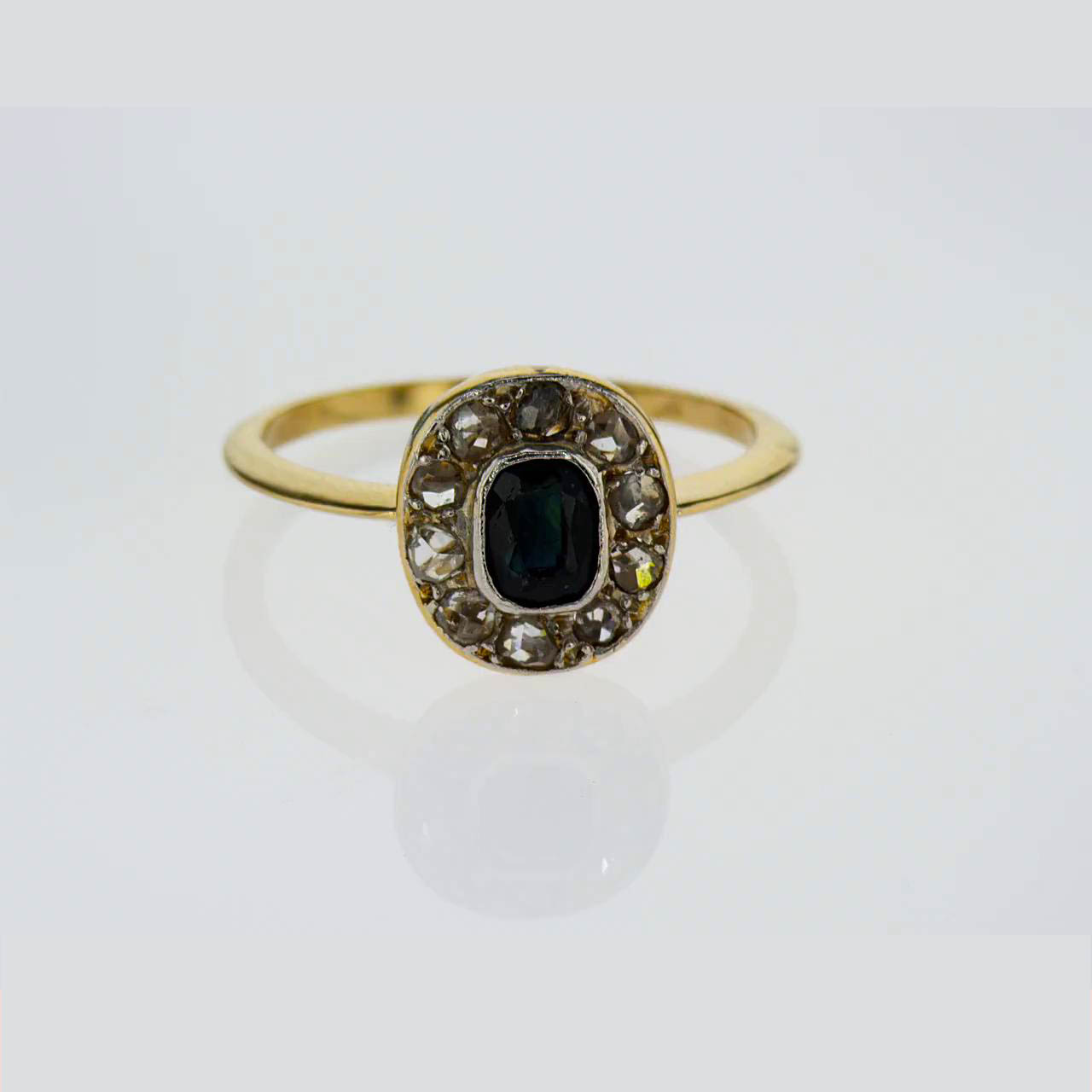 Vintage Cushion Cut Sapphire Engagement Ring, 18k Yellow Gold