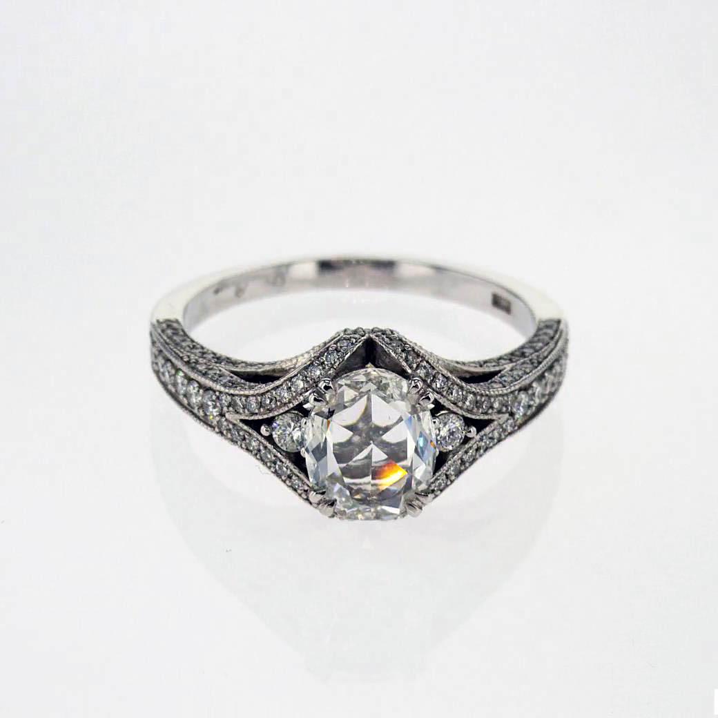 Dino Lonzano Vintage Inspired Diamond Engagement Ring, 18k White Gold