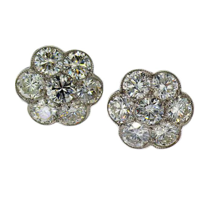Vintage Platinum Diamond Earrings, Floral Design