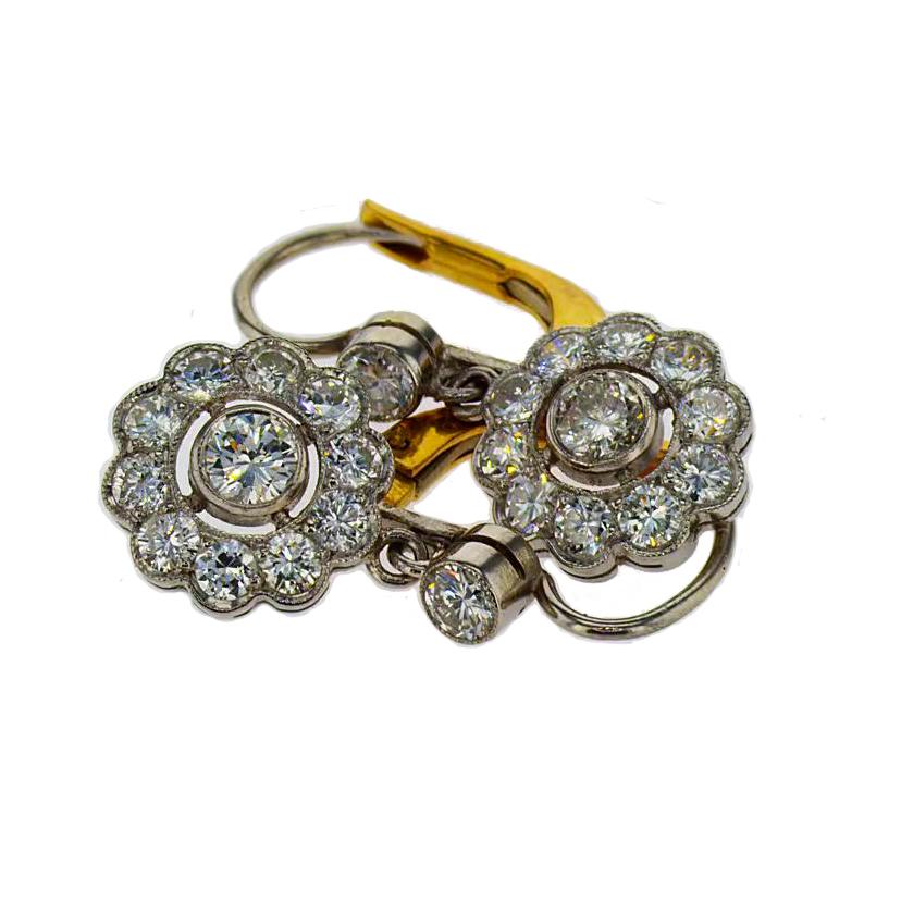 Floral Inspired Vintage Diamond Earring, 18k Gold